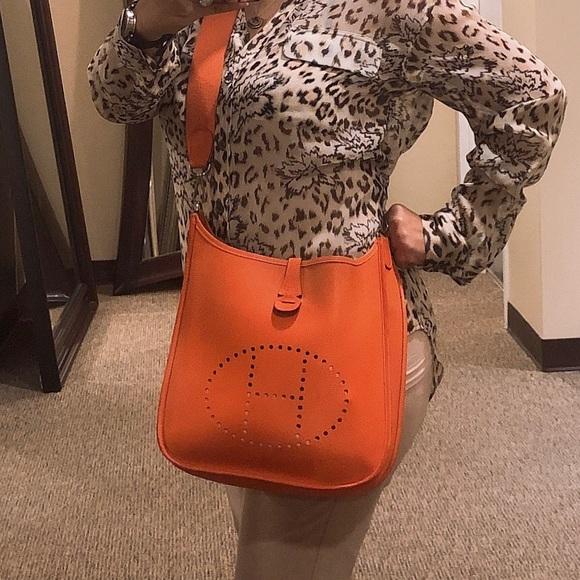 74228fb304e Hermes Handbags - Hermes Evelyne II PM ORANGE Clemence Crossbody bag